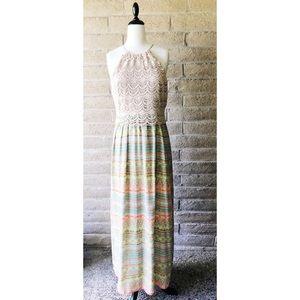 Kenzi Crochet Top and Printed Bottom Maxi Dress 10
